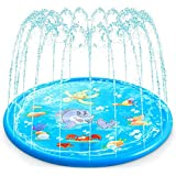 VKSG Sprinkler Pad Splash Water Mat for Kids Play, 68'' ECO PVC Inflatable Water Toys, Summer Outdoor Swimming Pool, Sea Creatures Patterns Sprinkler Wading Pool for 1-14 Years Old Toddlers Children