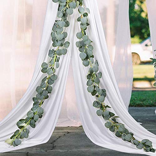 Aonewoe Artificial Garland 2 Pcs 13Ft/Total Silk Eucalyptus Vine Party Table Wedding Backdrop Wall Decor