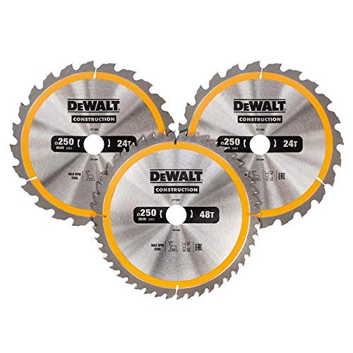 Dewalt Kreissägeblatt-Set 3er Pack, DT1964 (1x 305x30x3.0 mm, 24, WZ, -5° / 1x 305x30x3.0 mm, 48 WZ, 10° und 1x 305x30x3.0 mm, 60, WZ, -5°, nagelfest, für den Einsatz auf Stationärsägen)