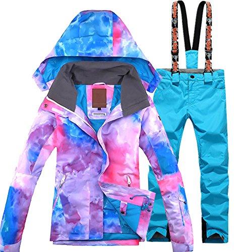 GS SNOWING Women Colorful Ski Suit Snowboard Jacket + Pant Blue Large