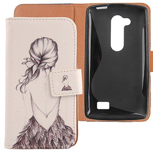 Lankashi PU Flip Leder Tasche Hülle Case Cover Handytasche Schutzhülle Etui Skin Für LG L Fino Dual D295 D290N Back Girl Design