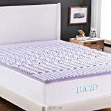 LUCID 2 Inch 5 Zone Lavender Memory Foam Mattress Topper - Cal King