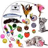 Legendog Juguetes para Gatos, 22 Piezas Juguete Interactivo para Gatos con Plumas para Kitty, Mascotas Juguetes, Juguete para Perros (22Pcs Juguetes Gatos)