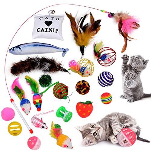Legendog Katzenspielzeug Set | 22 Stück Katzen Spielzeug | Katzen Spielsachen | Katzenangel Maus Bälle Katzenspielzeug | Katzenspielzeug mit Katzenminz | Katzenspielzeug Interaktiv Ball Federstab