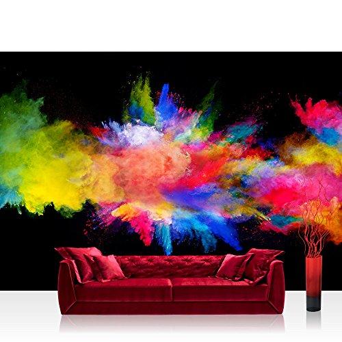 Fototapete 368x254 cm PREMIUM Wand Foto Tapete Wand Bild Papiertapete - Kunst Tapete Farbbombe Holi indisches Farbenfest Pulver bunt - no. 2424