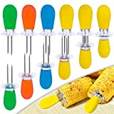 AQRINGO 12 Pcs/6 Pairs Corn Holders, Stainless Steel Corn Cob Holders Corn on The Cob Skewers for BBQ Twin Prong Sweetcorn Holders, Interlocking Design Corn Skewers Forks for Home Cooking BBQ,4 Colors