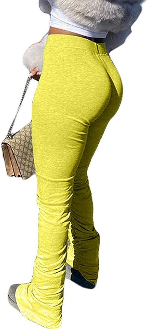 MorwenVeo Women's High Waist Bootcut Slit Pants Casual Flare Bell Bottom Pants Workout Bootleg