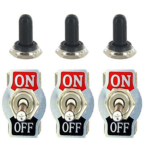 E Support™ 3 X 20A 125V 15A 250V Kippschalter Schalter Wippschalter SPST 2-Polig EIN/AUS Metall Mit wasserdicht Schutzkappe