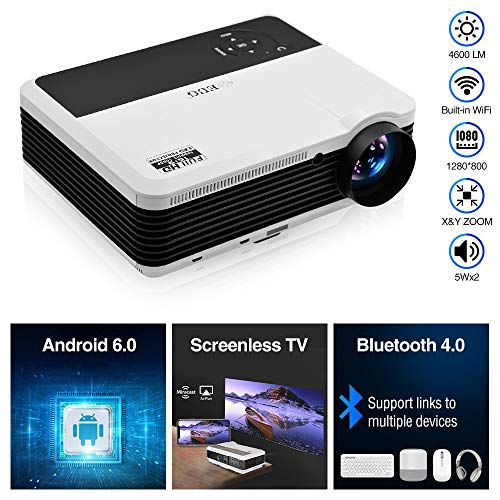 EUG HD Wireless Smart LCD LED Projector with Bluetooth 4600 Lumen, 1080P Supported Android 6.0 OS HDMI USB for Smartphone DVD Roku TV Stick Kodi YouTube Laptop PC Wii Xbox Playstation