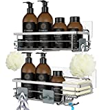 [Combined Design with Built-In Soap Holder]: Generous shower caddies hold shampoo, conditioner, liquid and bar soaps of all sizes while strong, flat, stainless steel wires keep your shower essentials contained without bending. With thoughtful details...