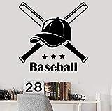 MXLON palabras letras calcomanía de pared gorra de béisbol deportes adolescentes niños dormitorio decoración del hogar vinilo ventana pegatinas vestuario mural artístico 57X57Cm