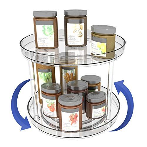 2 Tier Lazy Susan Turntable 360 Degree Rotating spice rack cabinet Organizer for Kitchen Tiered Plastic Storage Container for Pantry Dresser Bathroom Workroom- Clear