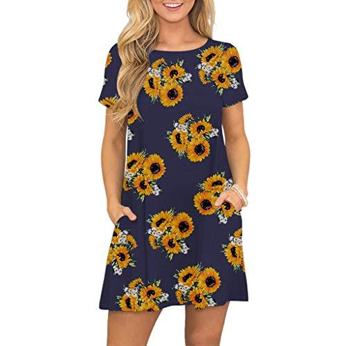 IFOUNDYOU Damen langes Kleid Schöne Drucken Kurzarm Lässige Florale T Shirt Kleid Kurz Strandkleider mit Knöpfen mit Taschen Rundhals Leicht Boho Kleid