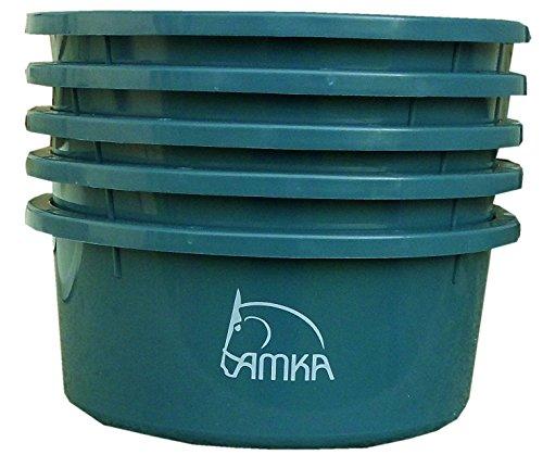 Reitsport Amesbichler AMKA Futterschale Müslischale Leckschüssel 5er Set 2 Liter ohne Deckel für Futterschüssel Wasserschüssel für Pferde, Hunde Tiere, Farbe: Petrol