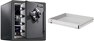 SentrySafe SFW123DSB Fireproof Safe and Waterproof Safe with Dial Combination 1.23 Cubic Feet Gray & 912 Tray Accessory, For SFW082 and SFW123 Fire Safes