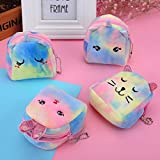 SweetGifts Plush Animal Coin Purses Bag Pouch Wallet Storage Comestic Makeup Case Cute Kitty Unicorn Bunny Bags 4 PCS