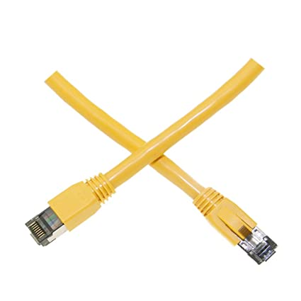 40Gbps Cablewholesale Cat8 S//FTP Ethernet Patch Cable 4-Pair 24AWG Stranded Pure Copper 15 Foot RJ45 Shielded Gold Plate Connector Male Internet Patch Cable 2000MHz Yellow Molded Boot