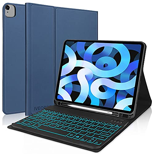 IVEOPPE Funda con Teclado para iPad Air 10.9' 2020 (4.a generación)/iPad Pro 11 2020/2018 (1.ª y 2.ªgeneración), Teclado Bluetooth 7 Colores Retroiluminada Español Ñ para iPad Air 10,9 - Azul Oscuro
