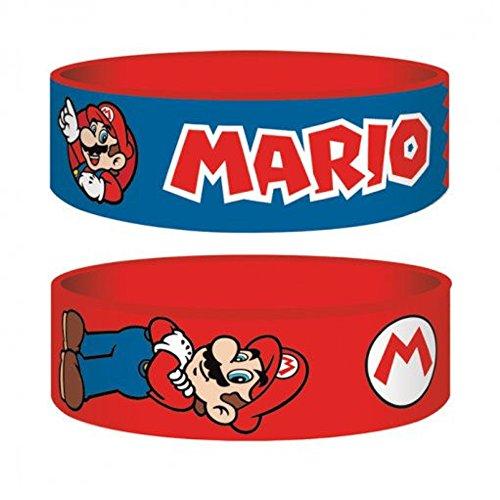 Super Mario Bracelet en caoutchouc (rouge et bleu).