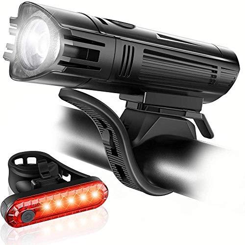 ytrew bicicleta luces conjunto durable bicicleta cola luz ultra brillante USB recargable bicicleta luz conjunto luz de la bicicleta accesorios para bicicletas negro