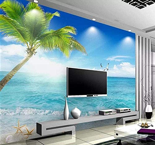 Life Accessories Blue Sky and White Clouds Beach Palm Trees 3D Non Woven Modern Murals Wall Decoration Custom 3D Paste Living Room The Wall for bedroom 300cm times 210cm