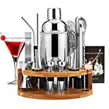 HALOVIE Cocktail Shaker Set 750ml Bartender Making Kit with Wooden Stand, Home Bar Accessories Drink Mixer Cocktail Maker Bar Tool Gift Set(14pcs)