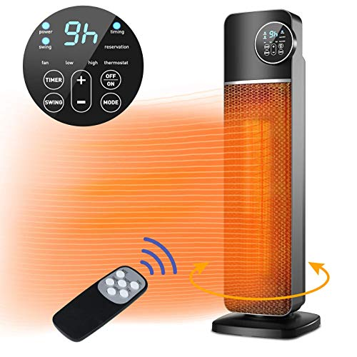 QUARED Fan Heater, 2000W Ceramic Vertical Space Heater with Smart Adjustable Thermostat, Quiet, 60° Oscillation, 3 Heat Modes, Timer & Remote Control, Safety Protection for Home Office