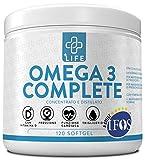 PiuLife Omega 3 Complete Certificato 5 Stelle IFOS ● 120 Soft Gel ● Con Vitamina D e 1600mg EPA + 800mg DHA per Dose ● Olio di Pesce Puro e Certificato per Controllo dei Trigliceridi