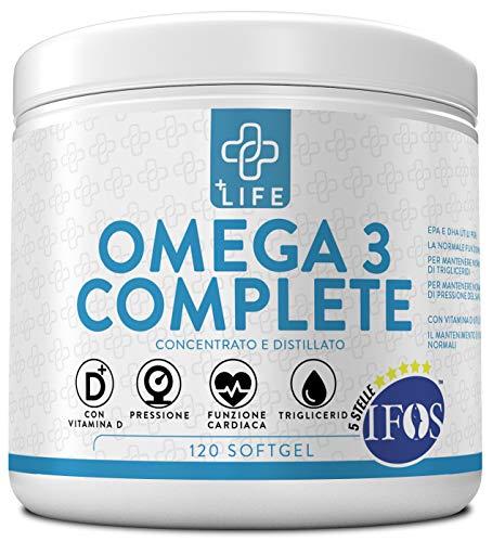 PiuLife Omega 3 Complete Certificato 5 Stelle IFOS  120 Soft Gel  Con Vitamina D e 1600mg EPA + 800mg DHA per Dose  Olio di Pesce Puro e Certificato per Controllo dei Trigliceridi