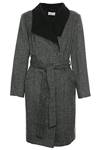 Sheego Kurzmantel Mantel Wintermantel Gehrock Jacke Damen Wolle Plusgröße, Farbe:schwarz, Damengrößen:50