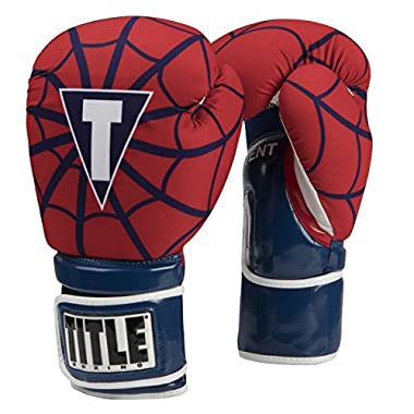 TITLE Infused Foam Spider Web Boxing Gloves, Red/Blue, 16 oz