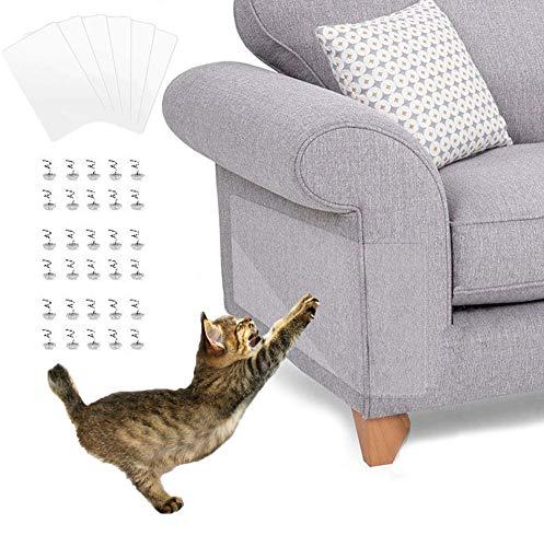 KTL Katzenmöbel Schutz, selbstklebend, Kratzschutz mit Pins Kratzschutz für Sofa und Tisch, transparent, 40,6 cm L x 30,5 cm B (6 Stück)