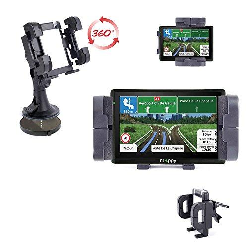 DURAGADGET Support Fixation Voiture Rotatif Tableau de Bord, Grille d'aération et Pare-Brise Compatible avec GPS Mappy Ulti 546 Europe, Ulti S547 FM et Ulti E528s 5\