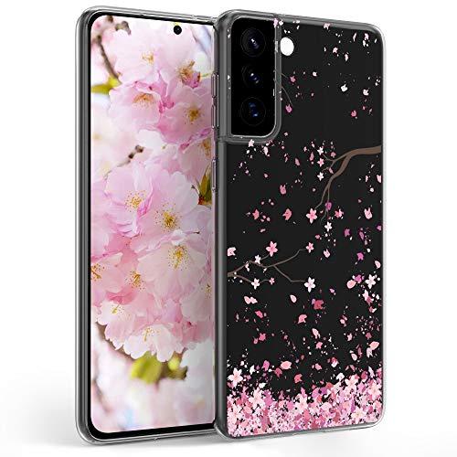 kwmobile Funda Compatible con Samsung Galaxy S21 Plus - Carcasa de TPU y Flores Cerezo cayendo en Rosa Claro/marrón Oscuro/Transparente