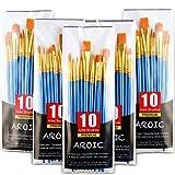 Acrylic Paint Brush Set, 5 Packs / 50 pcs Nylon Hair Brushes for All...