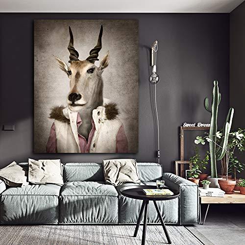 XCSMWJA 1 Stück große Ziege in Kleidung Cartoon Tiere Wandplakate für Kinder Kinderzimmer Home Decor Leinwand Ölgemälde 60x80cm