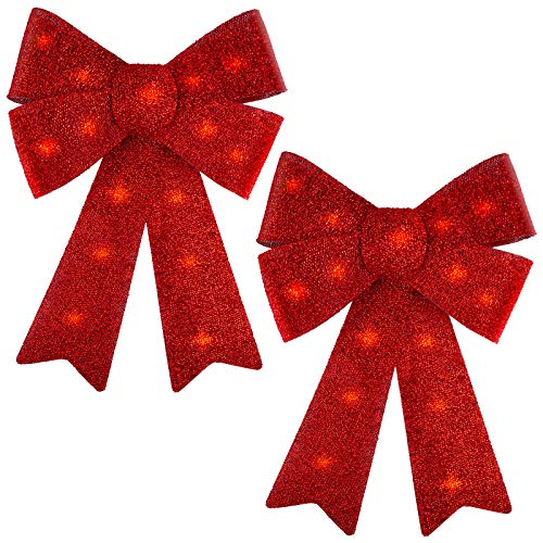 Aneco 2 Pack LED Red Christmas Wreath Bows Christmas Tree Ornaments Bows Holiday Christmas Ornaments for Xmas Home Decor, 12 x 18 inches