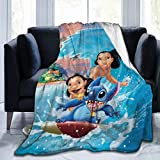 Girdoy Stitch with Lilo Blanket Soft, Comfortable and Warm Blanket Flannel Blanket Size: in 50'x40'