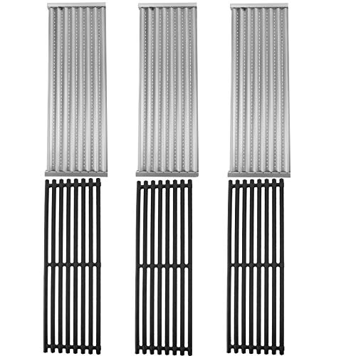 SafBbcue Cast Iron Grate and Stainless Steel Emitter Compatible with 2015 and Newer CharBroil Commercial, Signature, Professional Series TRU-Infrared 2 3 4 5 6-Burner Gas Grills (3 Pack)