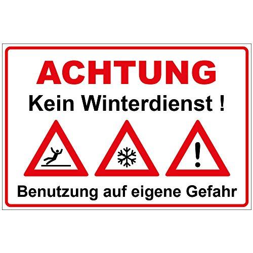 Schild Kein Winterdienst aus Alu/Dibond 300x200 mm - 3 mm stark mit Warnsymbolen