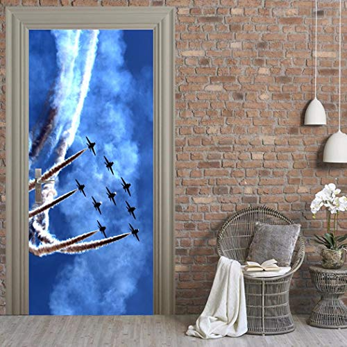 3D Tür Aufkleber Kämpfer In Den Himmel Wandmalerei Kunst Selbstklebende Klappe Aufkleber Abnehmbare Türen Aufklebern Von Qt XINGMU