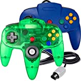 2 Pack N64 Controller, iNNEXT Classic Wired N64 Gamepad Joystick for Ultra 64 (Blue/Transparent Green)