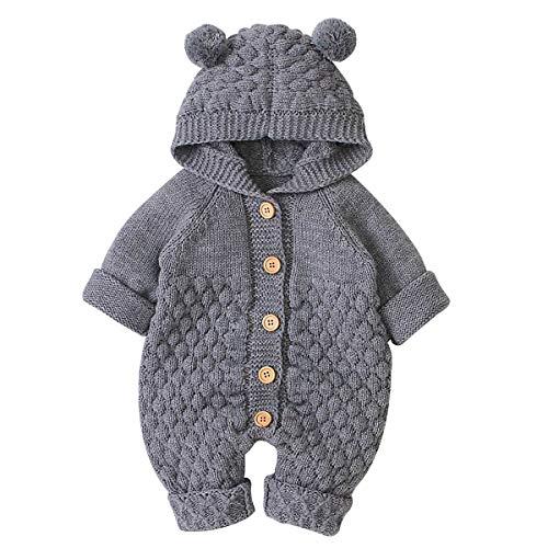 Haokaini Neugeborenes Baby Ohr Kapuze Gestrickte Strampler Overall Winter wärmer Schneeanzug für Jungen Mädchen