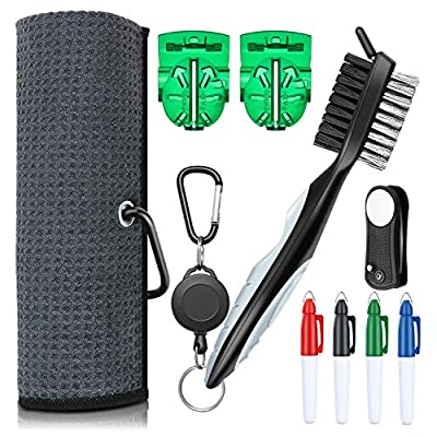 XAegis GT13 Golf Towel and Brush to Clean Golf Club with Magnet Divot Tool,Golf Ball Liners,Sharpie pens - 9 in 1 Golf Accessories,Grey