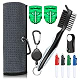XAegis GT13 Golf Towel and Brush to Clean Golf Club with Magnet Divot Tool,Golf Ball Liners,Pens - 9 in 1 Golf Accessories,Grey