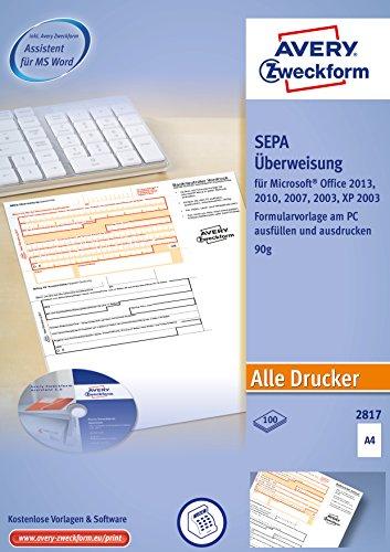 AVERY Zweckform 2817 Sepa-Überweisung, (A4, inkl. Software-CD, von Rechtsexperten geprüft, für Deutschland, zum einfachen Erstellen von Überweisungen am PC, 100 Blatt) weiß