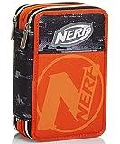 Astuccio 3 Scomparti, Nerf Nation Unica, Nero e Arancione, Portapenne con Contenuto per la Scuola