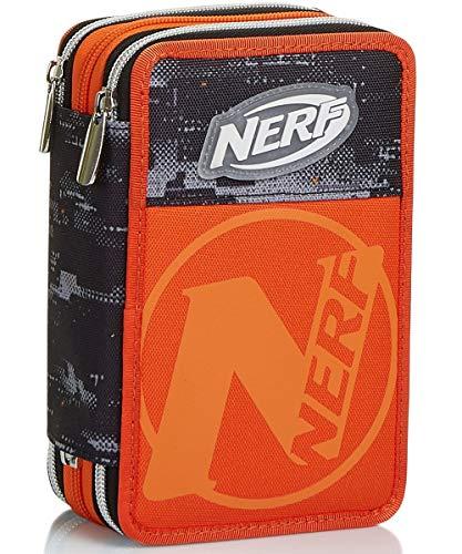 Nerf Nation - Estuche de 3 Compartimentos, Color Negro y Naranja