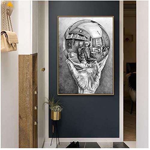 Hand with Reflecting Sphere by M. C. Escher Master of Illusion Posters and Prints Canvas Art Wall Picture for Home Decoration-50x70cm No Frame