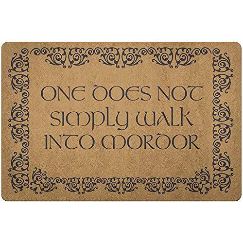 Cy-ril Bienvenido Felpudo 60X40Cm Uno Simplemente no entra en Mordor Tolkien El señor de los Anillos Estera Interior de Franela Antideslizante para el hogar Decorativo